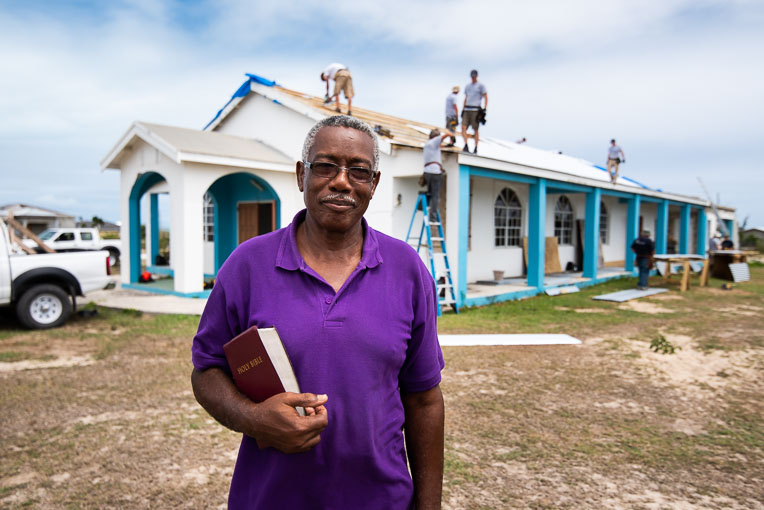 """PASTOR WILLIAM ROSE OF THE HOPE FOR YOU COMMUNITY CHURCH ON BARBUDA CHARACTERIZED IRMA AS A """"MONSTER."""" IT SHREDDED THE CHURCH'S GALVANIZED ROOF."""