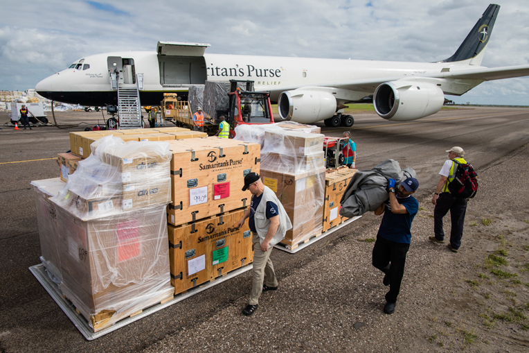 Samaritan's Purse is setting up an Emergency Field Hospital in Buzi, Mozambique, where Cyclone Idai caused severe damage and injury. In this photo, materials for the hospital are being unloaded off our DC-8 in Beira.