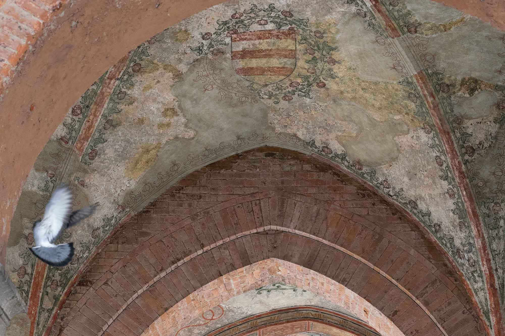 A bird takes flight near some frescoes in Cremona's Piazza del Comune.