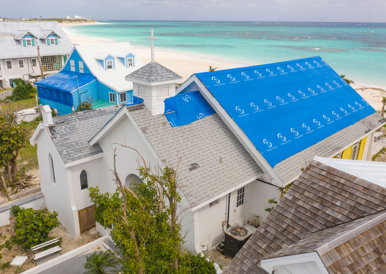 We've tarped the roofs of numerous churches throughout the islands.