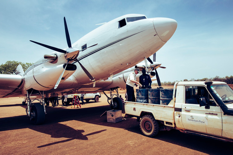 We use our DC-3 aircraft to transport relief supplies and teams to remote parts of Africa.