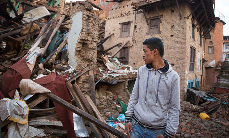 >The Nepalese were left stunned and grieving by the destructive force of the earthquake.