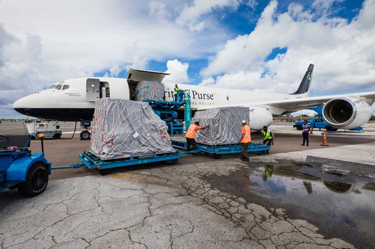 The plane was unloaded in Nassau, the Bahamas, on 15 Oct.