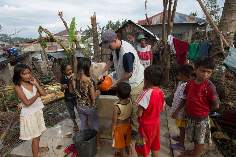 We provided clean water access in the Philippines after Typhoon Haiyan.