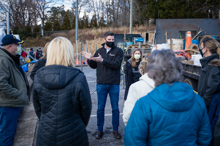 Edward Graham and executives from five partnering healthcare systems visit the Samaritan's Purse Emergency Field Hospital in Lenoir, North Carolina.